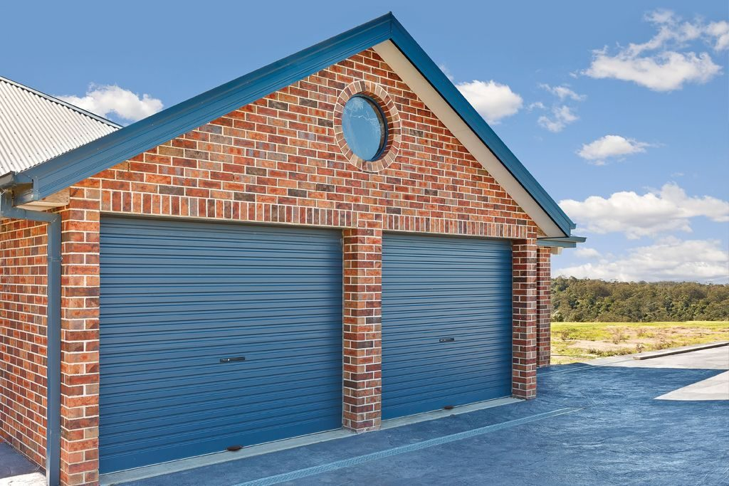 Blue B&D Garage Door