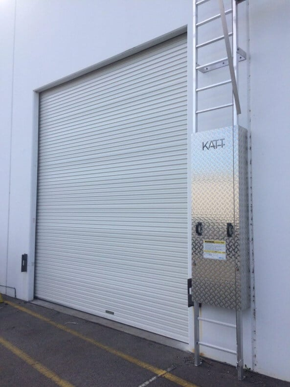 white commercial roller door