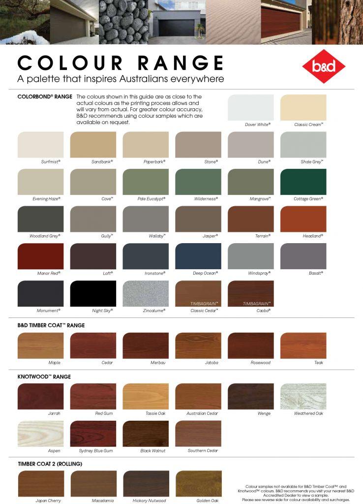 Colorbond Colors for Garage Doors